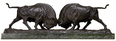 "Picture: Bronze sculpture ""Fighting bisons"""