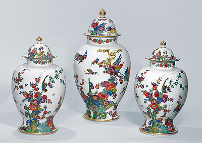 "Picture: Three vases with ""Indian"" flowers and animals"