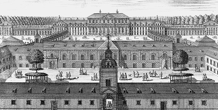 Schleißheim Old and New Palaces, copper engraving